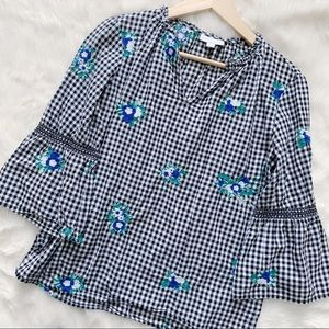 Gingham Floral Embroidered Charter Club Blouse S